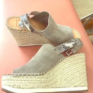Grey and Snakeskin Wedges